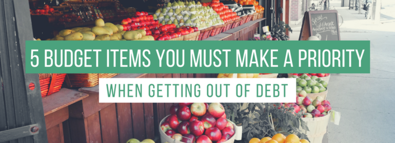 A headline over a pohto of a farmers market. The headline reads: 5 Budget Items you Must Make a Priority When Getting Out of Debt