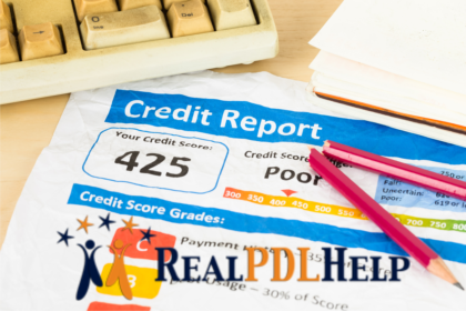A credit report showing a low credit score
