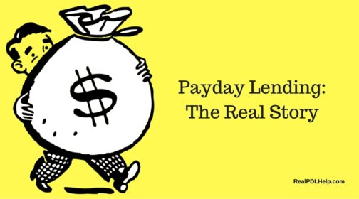 A graphic of a boy with a money bag. The headline reads: Payday Lending, the Real Story